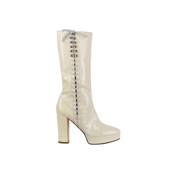 5822ad3799aa4 Shop Miu Miu Womens Ivory Leather Platform Knee High Boots - Free ...