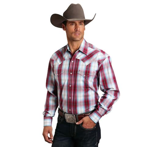 Stetson Western Shirt Mens L/S Plaid Snap Red