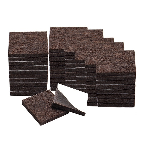 """100pcs Furniture Felt Pads Square 1 1/2"""" Self-stick Non-slip Anti-scratch Pads for Sofa Cabinet Chair Feet Floor Protector Brown"""
