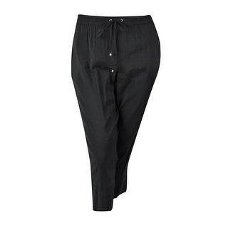 Jones New York Women's Zip Pockets Drawstring Pants - Black