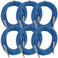 "SEISMIC AUDIO  6 PACK Blue 1/4"" TS 25' Patch Cables - Guitar - Instrument"