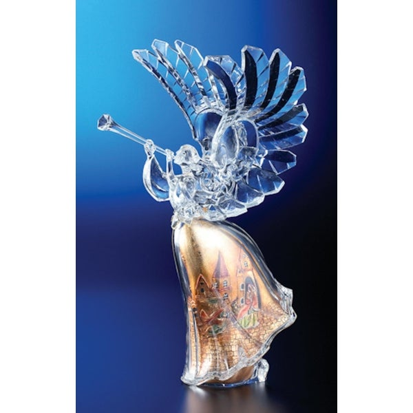 """Pack of 2 Icy Crystal Religious Christmas Gold Scene Angel Figures 14.8"""""""