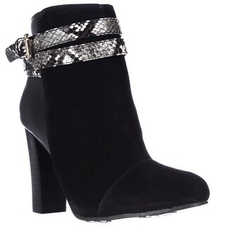 IMAN 434376 Snake Strap Dress Ankle Boots - Jet Black