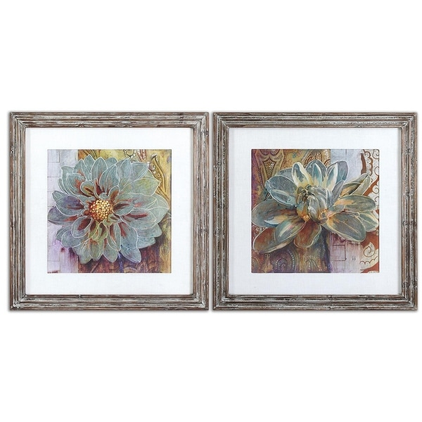 Set of 2 Colorful Southwest-Style Floral Plant Framed Print Wall Art ...