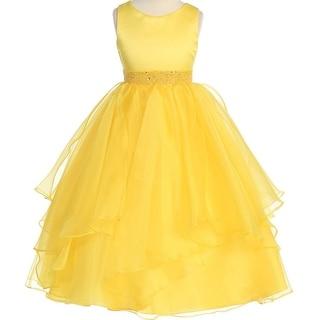 Flower Girl Dress Asymmetric Ruffles Satin & Organza Yellow CB 302