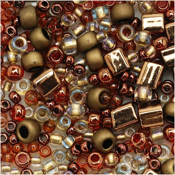 Toho Multi-Shape Glass Beads 'Ocha' Bronze Color Mix 8 Gram Tube