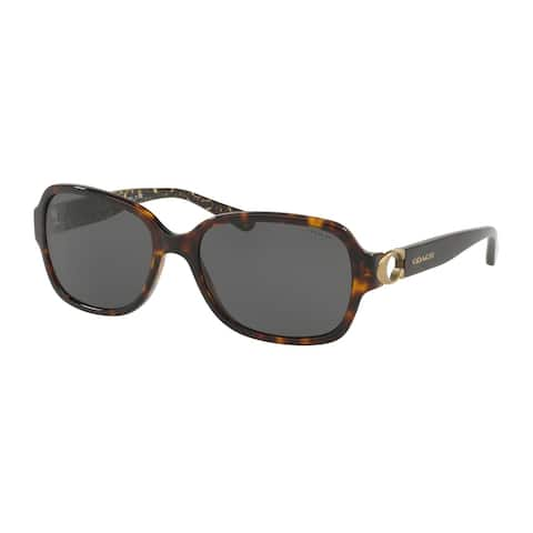 Coach Rectangle HC8241 Women DARK TORTOISE Frame DARK GREY SOLID Lens Sunglasses