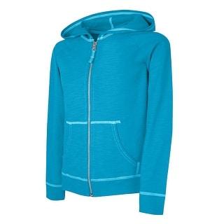 Hanes Girls' Slub Jersey Full-Zip Hoodie - S