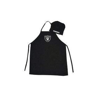 Oakland Raiders NFL BarbecueApron and Chef's Hat 2 pc Set Game Day Tailgating