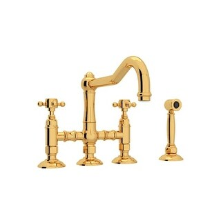 Rohl A1458XMWS-2 Country Kitchen Three Leg Bridge Faucet with Metal Cross Handles and Side Spray