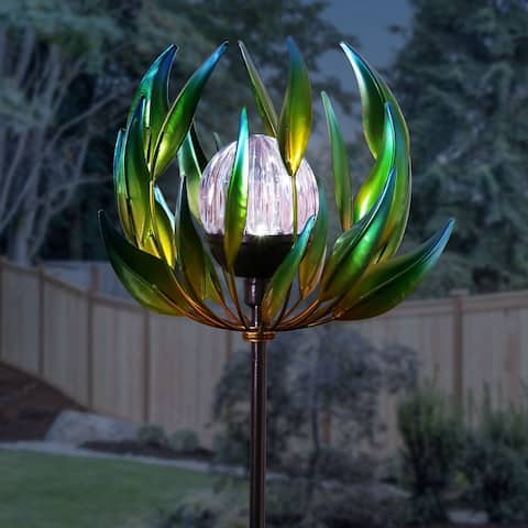 Exhart Solar Metal Spinning Flower Stake with LED Crackle Ball, 10 by 42 Inches
