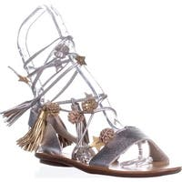 Loeffler Randall Suze Flat Lace-Up Sandals, Silver - 5 us
