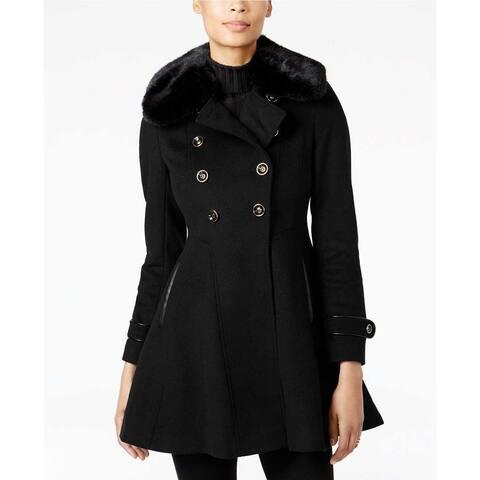 Via Spiga Double Breasted Faux Fur Club Collar Fit 'n Flare Coat, Black, 10