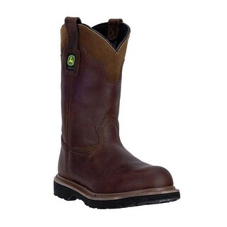"John Deere Western Boots Mens 11"" Gaucho Pull On Welt Brown"