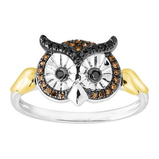 1/6 ct Black & Champagne Diamond Owl Ring in Sterling Silver and 10K Gold - Brown