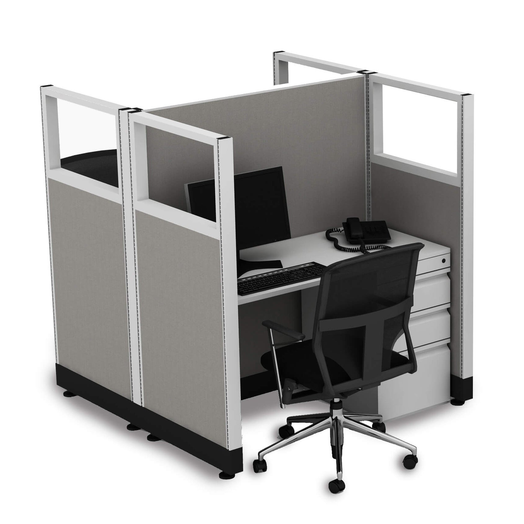 Cubicle Workstations 53H 2pack Cluster Powered (2x3 - Espresso Desk White Paint - Assembly Required)