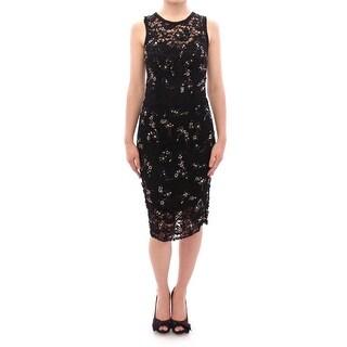 Dolce & Gabbana Dolce & Gabbana Black floral lace crystal embedded dress - it40-s