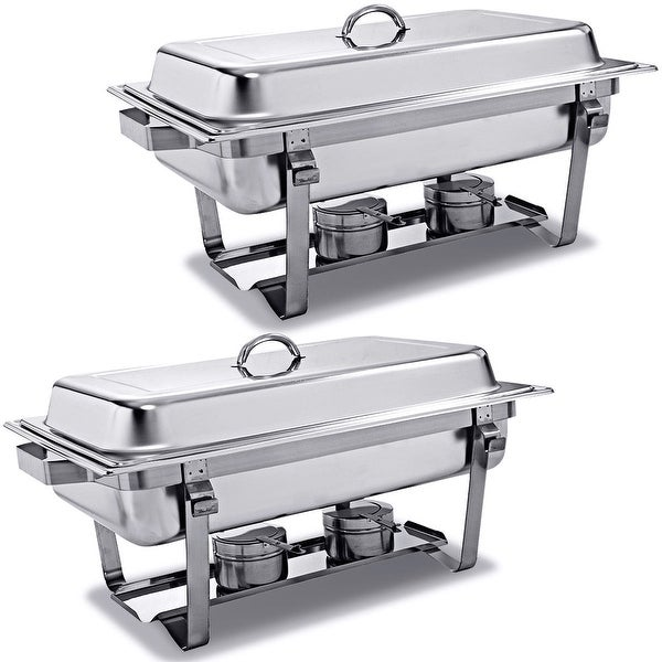 Costway Rectangular Chafing Dish Stainless Steel Full Size 2 Pack Of 8 Quart