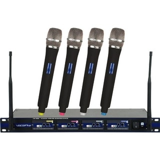 Professional 4-Channel Uhf Wireless Microphone System W/4 Handheld Mics Q-R-S-T Frequency Set