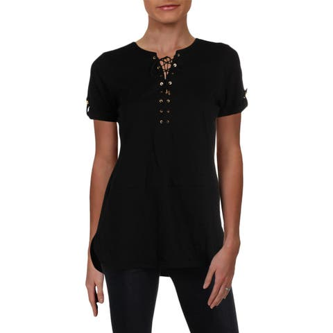 Lauren Ralph Lauren Womens Anilyav Pullover Top Lace Up Adjustable Sleeves