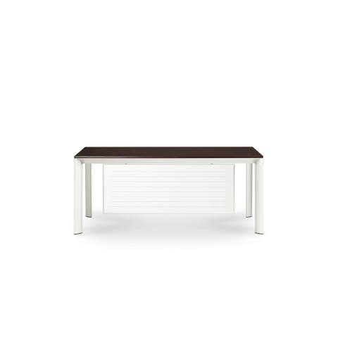 Prevue 72-inch Silver Frame with Auburn Top Desk with Backing