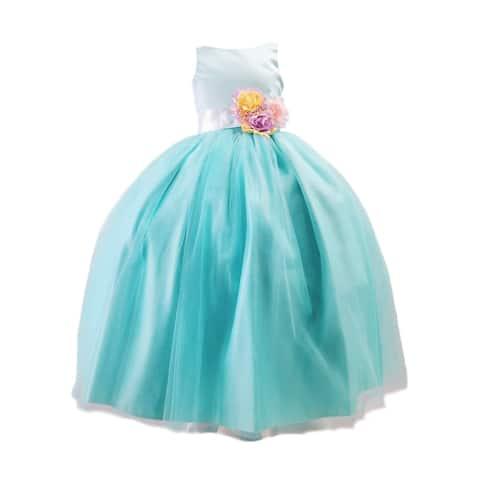 Sinai Kids Mint Unicorn Solid Tulle Bow Flower Girl Dress Little Girls