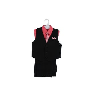 Paperio Boys Vest Pinstripe Set with Stripe Long Tie, Shirt, Pants Coral Guava - coral guava