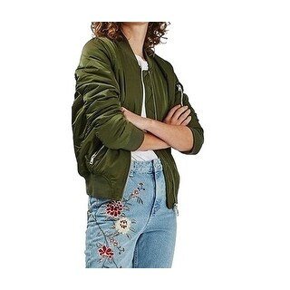 TopShop Womens Military Pleated Aviator Bomber Jacket