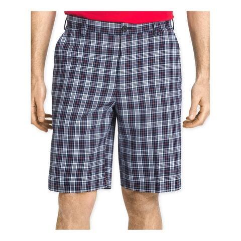 Izod Mens Plaid Flat-Front Athletic Workout Shorts