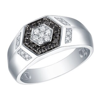 Prism Jewel 0.41Ct Black Diamond with G-H/I1 Natural Diamond Men's Anniversary Ring