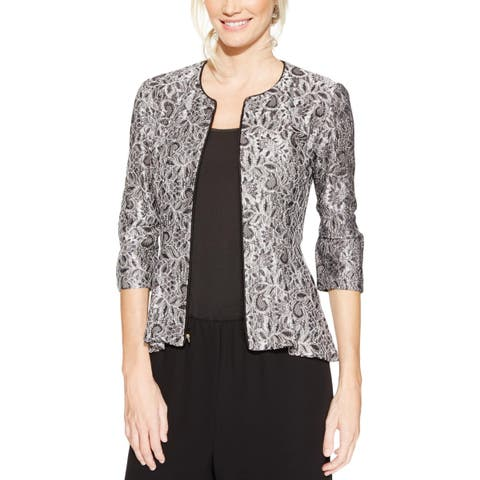 Alex Evenings Womens Blazer Metallic Lace Overaly
