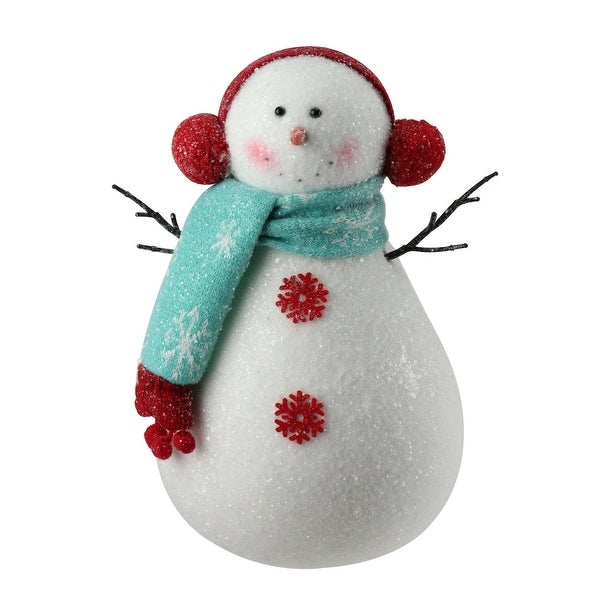 "10"" Sparkly Retro Snowman in Blue Scarf Christmas Figure Decoration"
