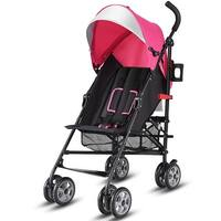 Costway Folding Lightweight Baby Toddler Umbrella Travel Stroller w/ Storage Basket - Pink