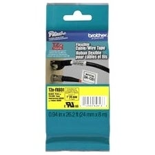 Brother TZE-FX651 Brother TZE-FX651 Black on yellow Flexible Label Tape - 0.94 Width x 26.25 ft Length - Thermal Transfer