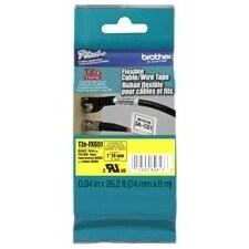 """Brother TZE-FX651 Brother TZE-FX651 Black on yellow Flexible Label Tape - 0.94"" Width x 26.25 ft Length - Thermal Transfer"