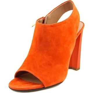 Calvin Klein Collection Saffron Women Open-Toe Suede Orange Heels