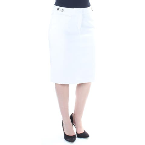53234a924890a8 TOMMY HILFIGER Womens White Knee Length Pencil Wear To Work Skirt Size: 4