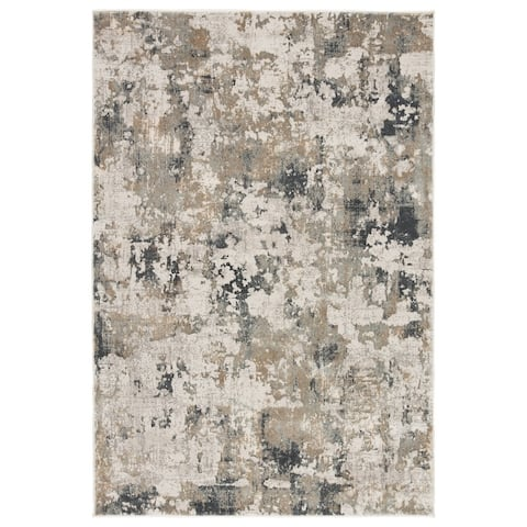 Benson Abstract White/ Grey Area Rug