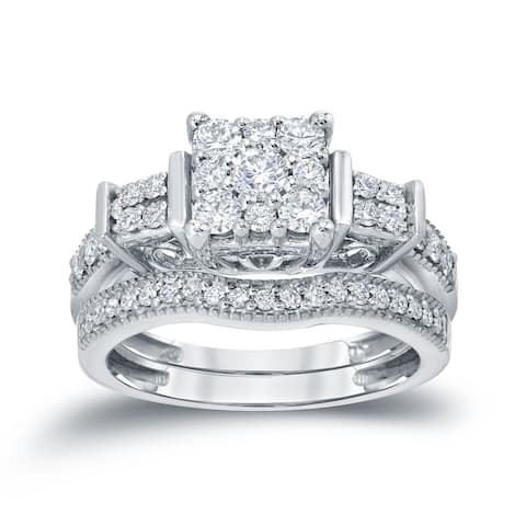 Auriya 14k Gold 3/4ctw Ornate 3-Stone Halo Diamond Engagement Ring Set