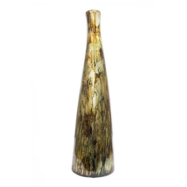 """20.2"""" Copper, Red, and Gold Ceramic Floor Vase"""