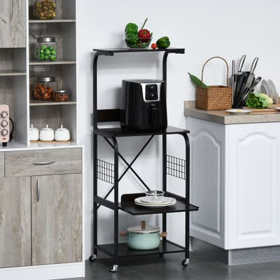 HOMCOM Kitchen Baker's Rack Rolling Microwave Stand Utility Cart 4-Tier Storage Shelf on Wheels with Side Wire Grids