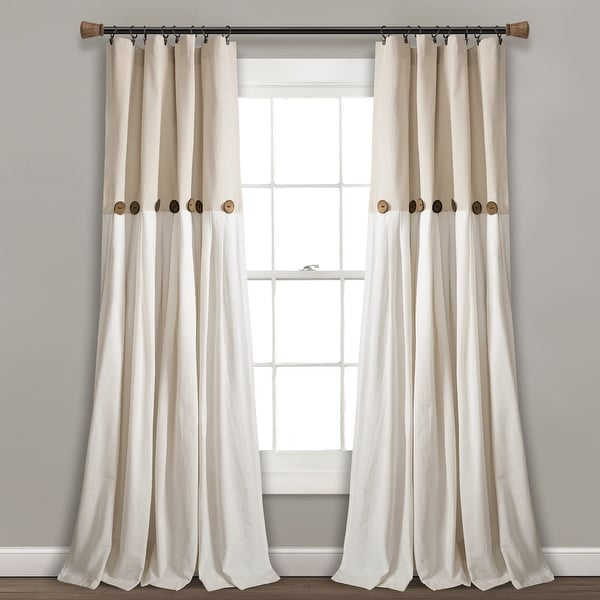Lush Decor Linen Button Single Panel Window Curtain. Opens flyout.