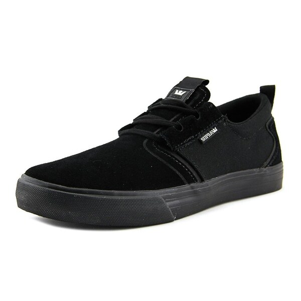 Supra Flow Men Round Toe Suede Black Sneakers