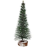 "5"" Frosted Green Mini Pine Artificial Village Christmas Tree - Unlit - under-3-feet"