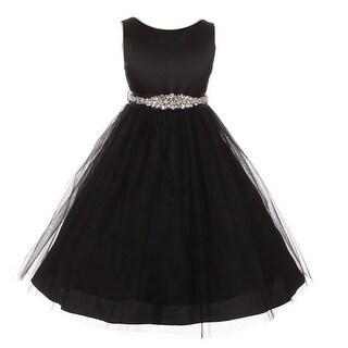 Little Girls Black Glitter Bejeweled Waist Sleeveless Flower Girl Dress