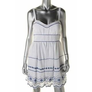 B. Darlin Womens Juniors Embroidered Crochet Trim Casual Dress - 11/12