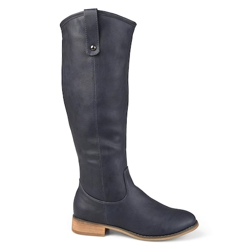 Brinley Co Womens Faux Leather Regular, Wide and Extra Wide Calf Mid-Calf Round Toe Boots