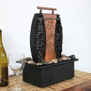 Sunnydaze Flowing Copper Falls Slate Indoor Water Fountain - 12 Inch Tall