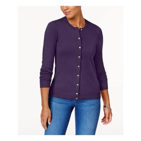 KAREN SCOTT Purple Long Sleeve Button Up Sweater S
