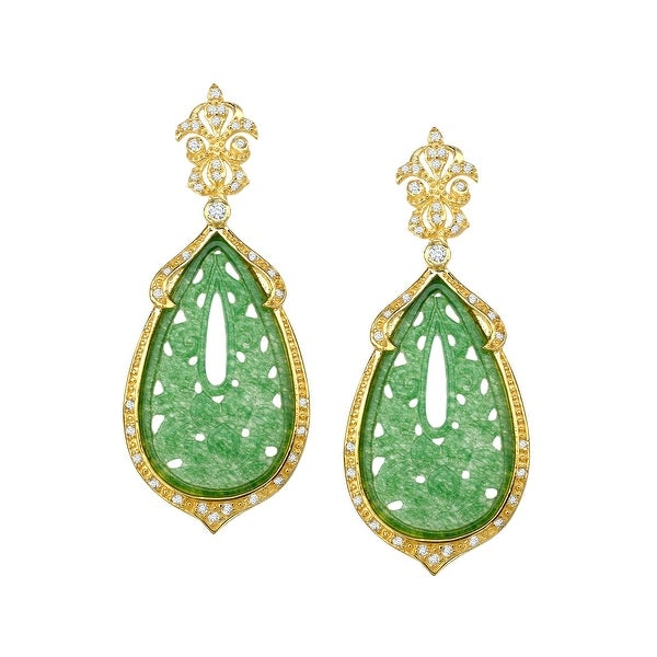 Cristina Sabatini Green Quartz Flower Drop Earrings in 14K Gold-Plated Sterling Silver